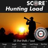 SCORE #4 LEAD HUNTING SHOTGUN SHELLS 1 1/4OZ 1350FPS 25