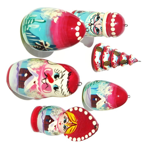 Hand Painted Wooden Christmas Ornaments From Russia