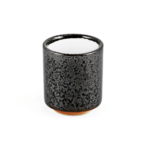 "Grainy Black Tea Cup with White Interior 6.4 fl oz / 2.76"" dia"