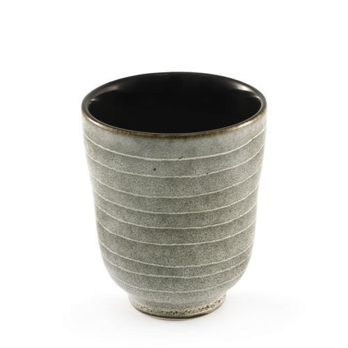 """Striped Yunomi Tea Cup with Black Interior 8 fl oz / 3.03"""" dia"""