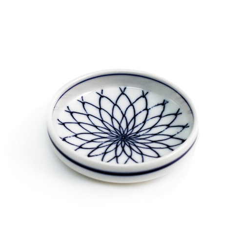 "Woven Flower Soy Sauce Dish 3.2"" dia"