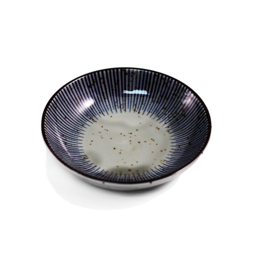 "Soy Sauce Dish with Blue Stripe Trim 4.02"" dia"
