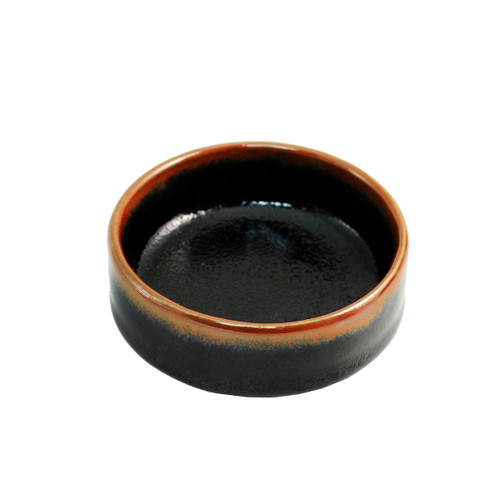 """Glossy Black Deep Soy Sauce Dish with Brown Trim 3.5"""" dia"""