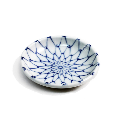 """Blue Woven Flower Soy Sauce Dish 3.75"""" dia"""