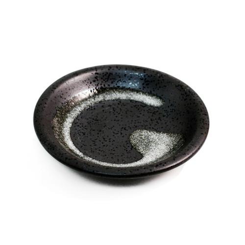 "Grainy Black Soy Sauce Dish with Brushstroke 3.7"" dia"