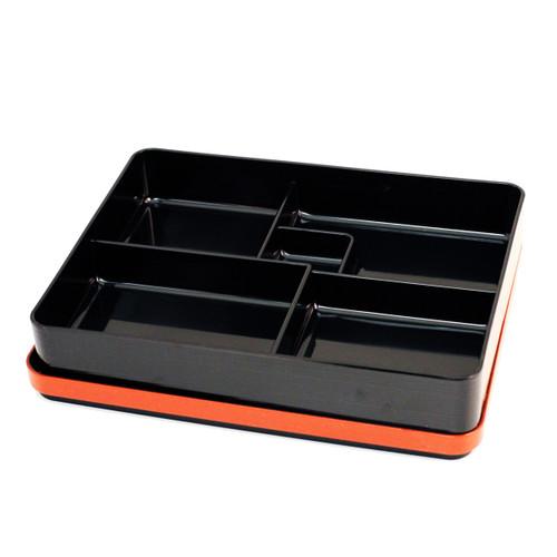 "Black Bento Box with Red Trim 11.14"" x 8.66"""
