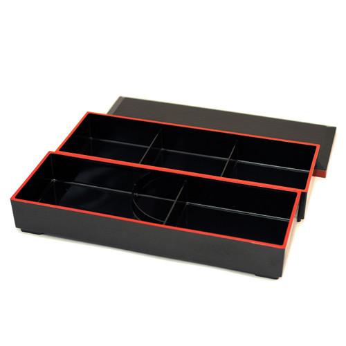 "Rectangular Two-tiered Bento Box 14.69"" x 5.35"""