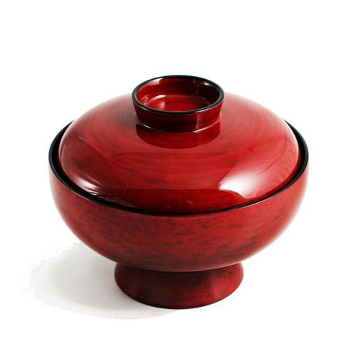 "Red Gotonuri Soup Bowl with Lid 11.2 fl oz / 4.72"" dia"
