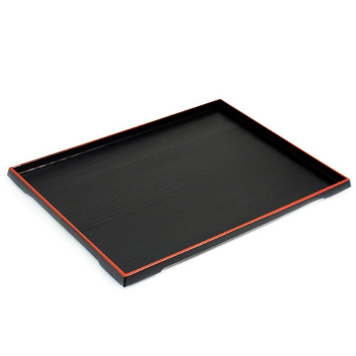 "Black Rectangular Serving Tray with Red Trim 15.35"" x 11.69"""