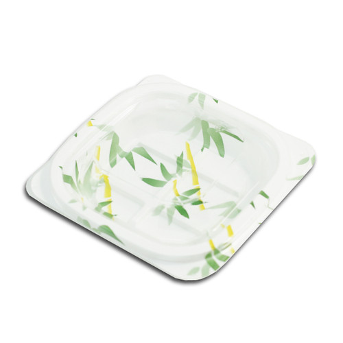"""SP-02 Small Bamboo Leaf Take Out Tray 4.75"""" x 4.38"""" (50/pack)"""