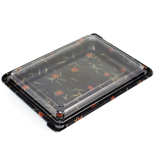 """SUSHI-08 Momiji Leaf Take Out Sushi Tray 10.4"""" x 7.8"""" (200/case)"""