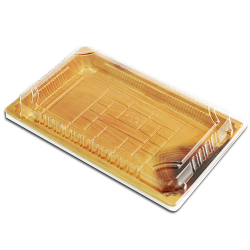 """TZ-015 Wood Pattern Take Out Sushi Tray 8.5"""" x 5.4"""" (50/pack)"""