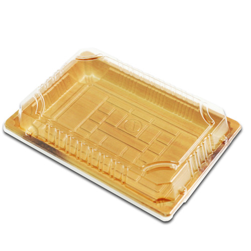 "TZ-F-010 Wood Pattern Take Out Sushi Tray 7.4"" x 5.3"" (360/case)"