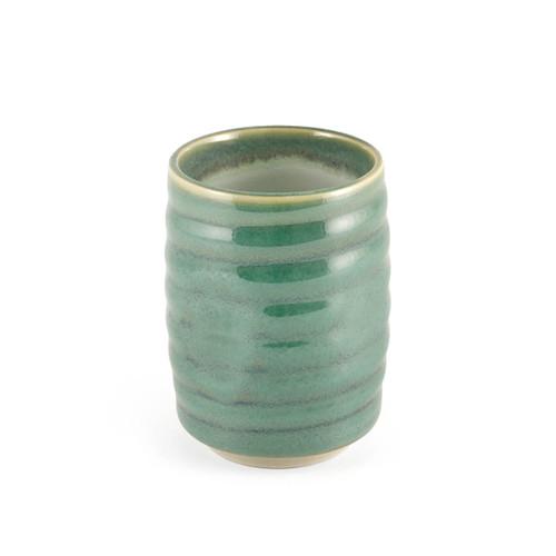 "Ridged Emerald Green Tea Cup 8.6 fl oz / 2.95"" dia"