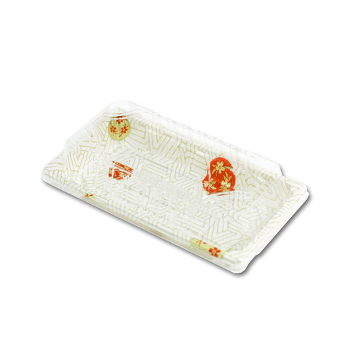 "TZ-W-0.6 White Take Out Sushi Tray 6.4"" x 3.5"" (60/pack)"
