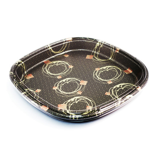 """SF-6 Rounded Square Take Out Platter 16.1"""" (100/case) - No Lids"""