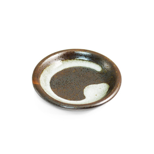 "Grainy Brown Soy Sauce Dish with Brushstroke 3.7"" dia"