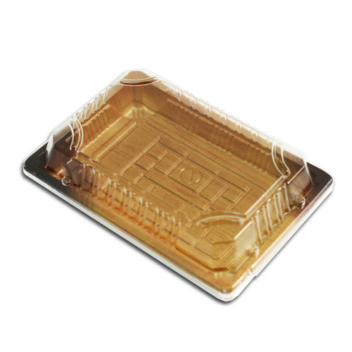 "TZ-F-008 Wood Pattern Take Out Sushi Tray 6.5"" x 4.5"" (440/case)"