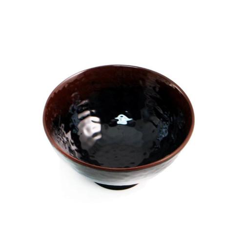 "Melamine Black Rice Bowl with Brown Trim 10 fl oz / 4.76"" dia"