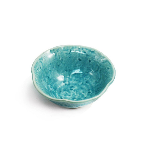 "Cracked Turquoise Blue Bowl 7 fl oz / 4.72"" dia"
