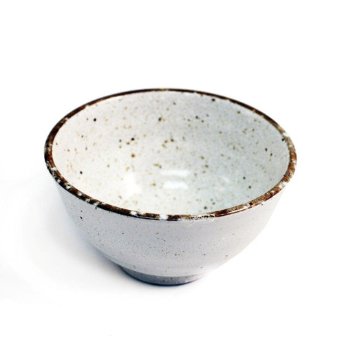 "Ivory Rice Bowl with Brown Trim 11 fl oz / 4.72"" dia"