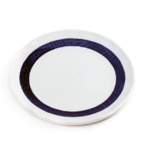 "Plate with Thick Blue Ring 6.42"" dia"