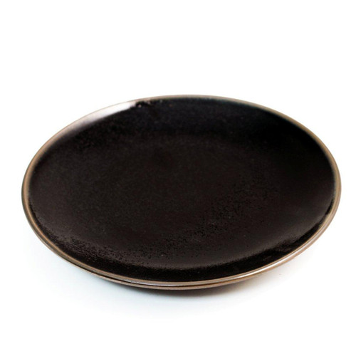 """Glossy Black Plate with Brown Trim 6.57"""" dia"""