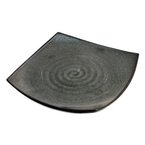 "Square Pearl Black Plate 9.06"" x 9.06"""
