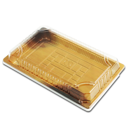 "TZ-020 Wood Pattern Take Out Sushi Tray 9.38"" x 5.75"" (240/case)"