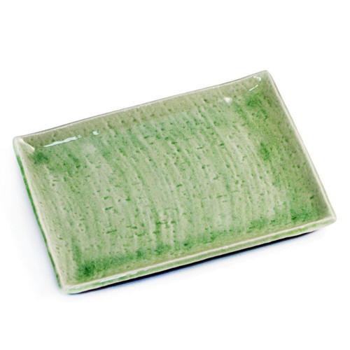 "Cracked Jade Green Rectangular Plate 10.59"" x 7.87"""