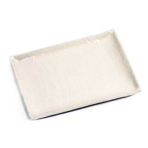 "Textured Glossy White Rectangular Plate 10.71"" x 8.03"""