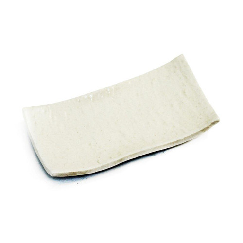 """Textured Glossy White Rectangular Plate 7.68"""" x 4.06"""""""