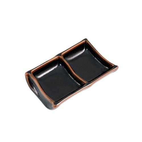 "[Clearance] 2 Compartment Glossy Black Plate with Brown Trim 5.79"" x 3.66"""