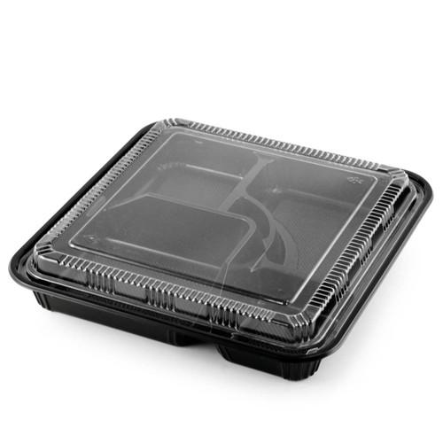 """TZ-307-K Black Take Out Bento Box 10.4"""" x 10.4"""" (100/case)"""