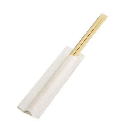 """8.25"""" Disposable Bamboo Chopsticks with White Sleeves - 2000 Pairs / Case"""