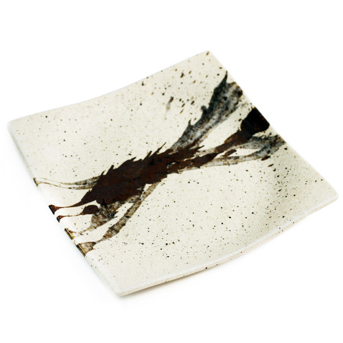 """Abstract Square Ivory Plate 9.21"""" x 9.21"""""""