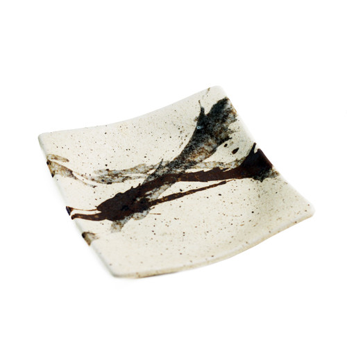 """Abstract Square Ivory Plate 5.35"""" x 5.35"""""""