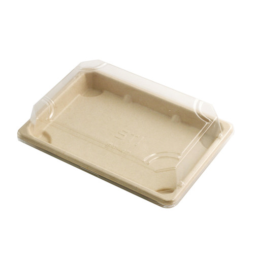 """ST-4G Biodegradable Take Out Sushi Tray 7.25"""" x 5.1"""" (800/case) - No Lids"""