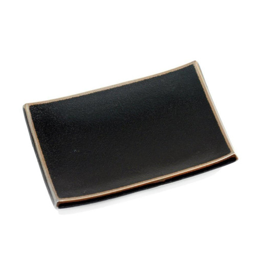 """[Clearance] Rectangular Glossy Black Plate with Brown Trim 8.07"""" x 5.79"""""""