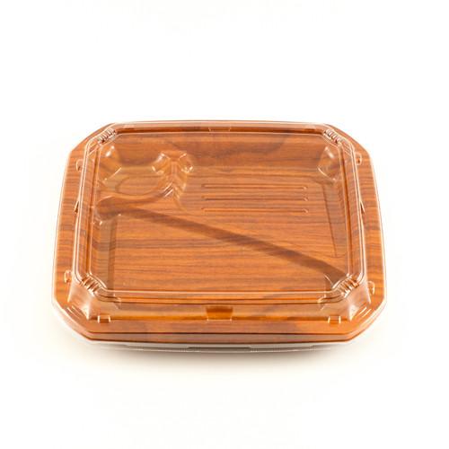 "COT 58 Wood Pattern Take Out Bento Box 9 1/4"" x7 5/8"" (50/pack)"