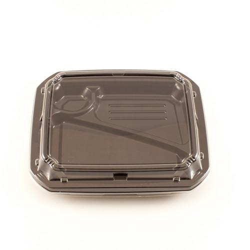 """COT 58 Black Take Out Bento Box 9.2"""" x 7.7"""" (800/case) - No Lids"""