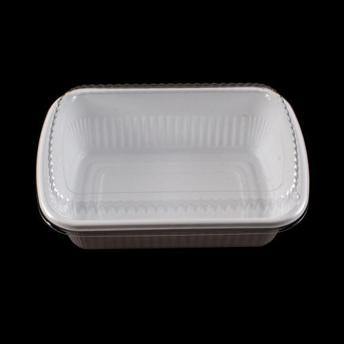 """BF-211 White Take Out Bento Box 7.6"""" x 5.25"""" (1200/case) - No Lids"""