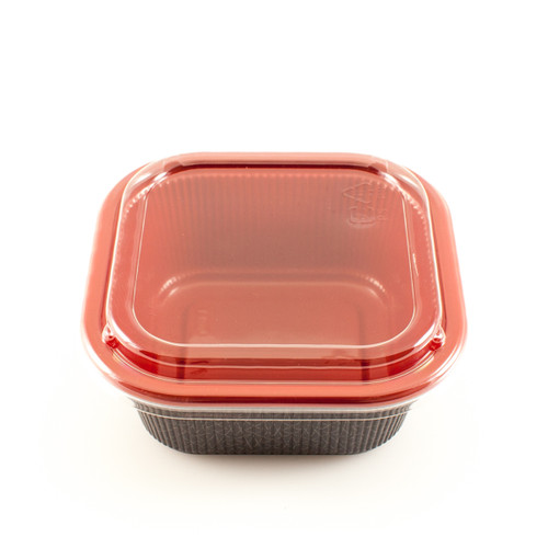 "BF-77 Black & Red Square Take Out Bowl 5.5"" x 5.5"" (1200/case) - No Lids"