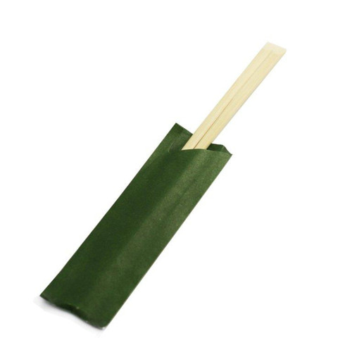 """8.25"""" Disposable Bamboo Chopsticks with Green Sleeves - 2000 Pairs / Case"""