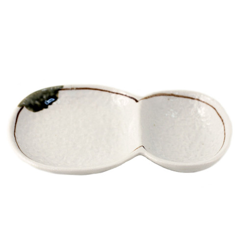 """2 Compartment Ivory Plate 7.24"""" x 4.69"""""""
