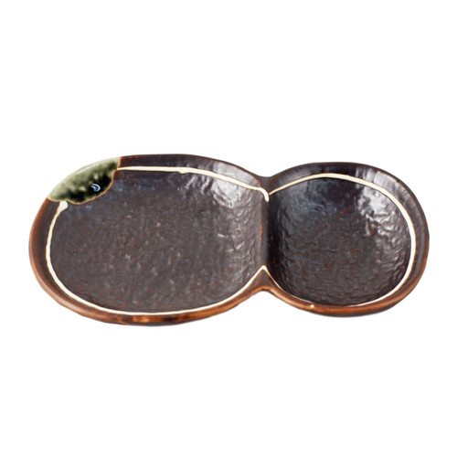 """2 Compartment Brown Plate 7.24"""" x 4.69"""""""