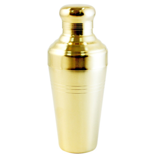 Yukiwa Matte Gold-Plated Baron 3-Piece Cocktail Shaker with Round Cap 510ml (17.2 oz)