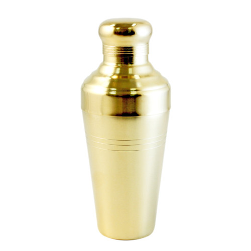 Yukiwa Matte Gold-Plated Baron 3-Piece Cocktail Shaker with Round Cap 410ml (13.8 oz)