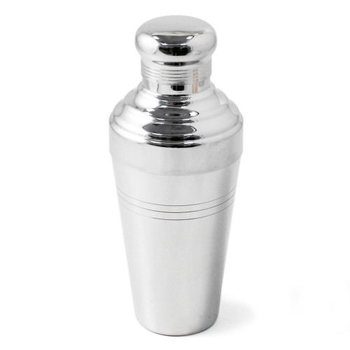 Yukiwa Stainless Steel Baron 3-Piece Cocktail Shaker with Round Cap 410ml (13.8 oz)