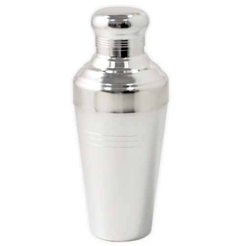 Yukiwa Matte Silver-Plated Baron 3-Piece Cocktail Shaker with Round Cap 410ml (13.8 oz)
